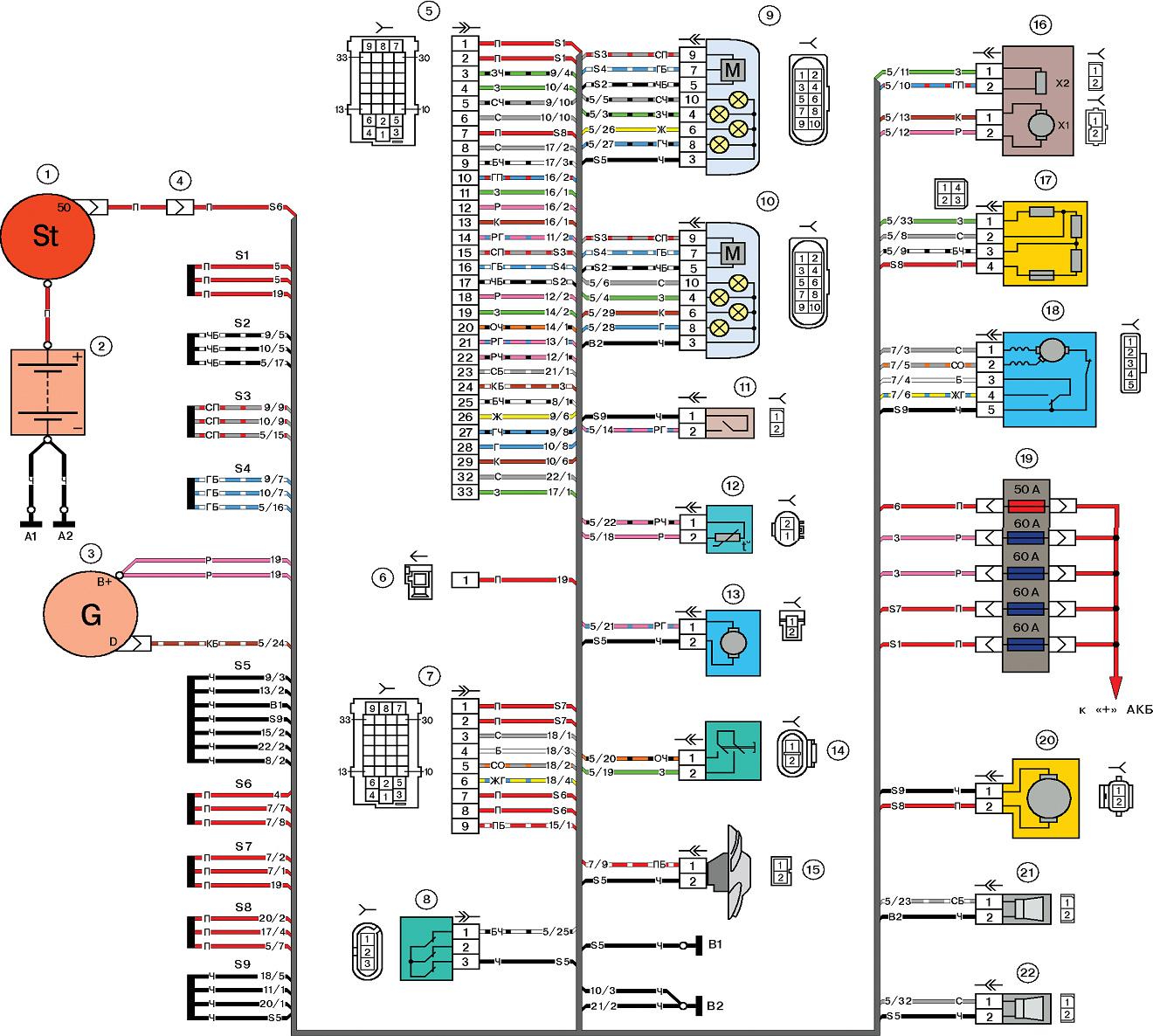 lada 2170 3 - Схема проводки приора хэтчбек