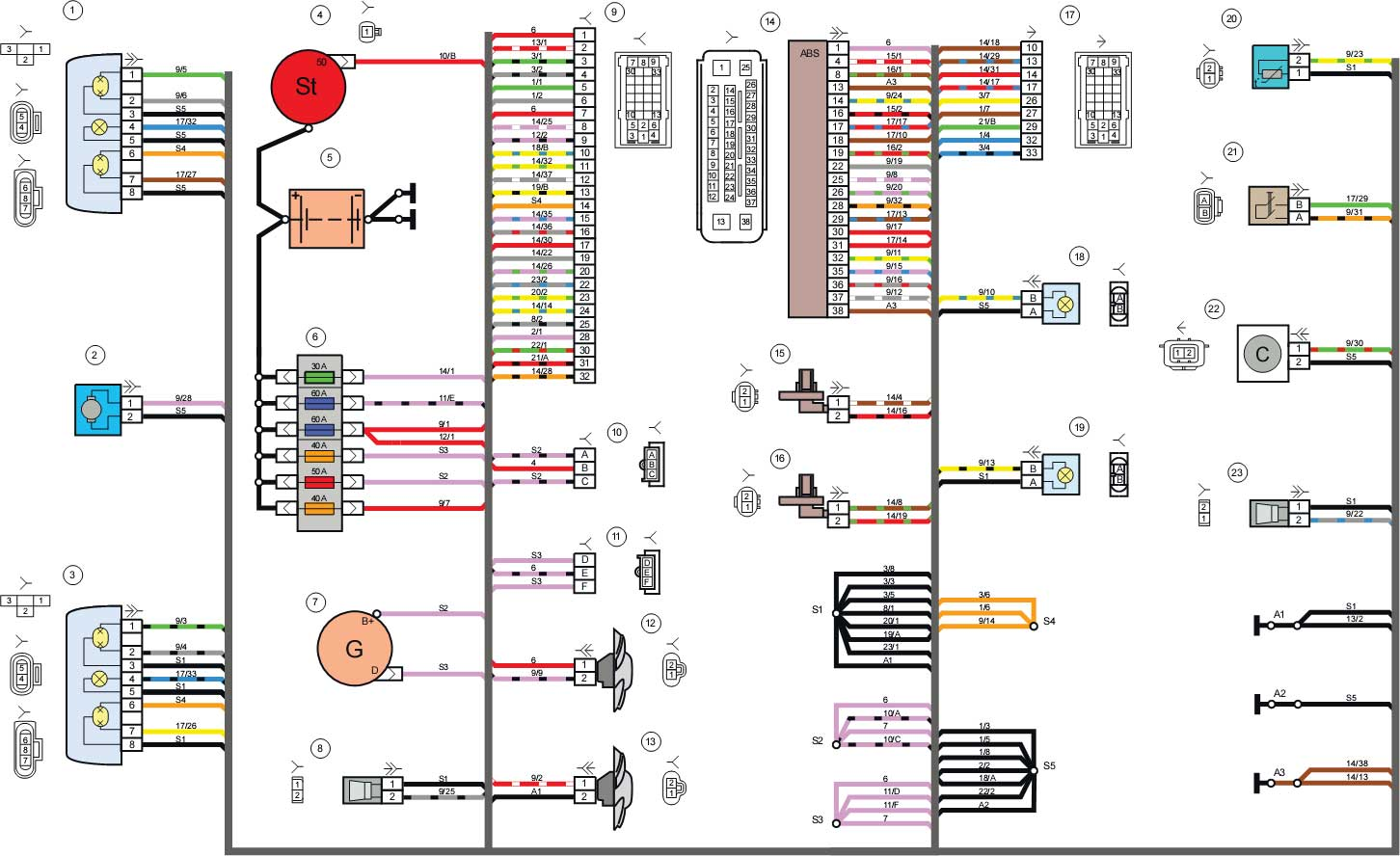 схема электропроводки гранта