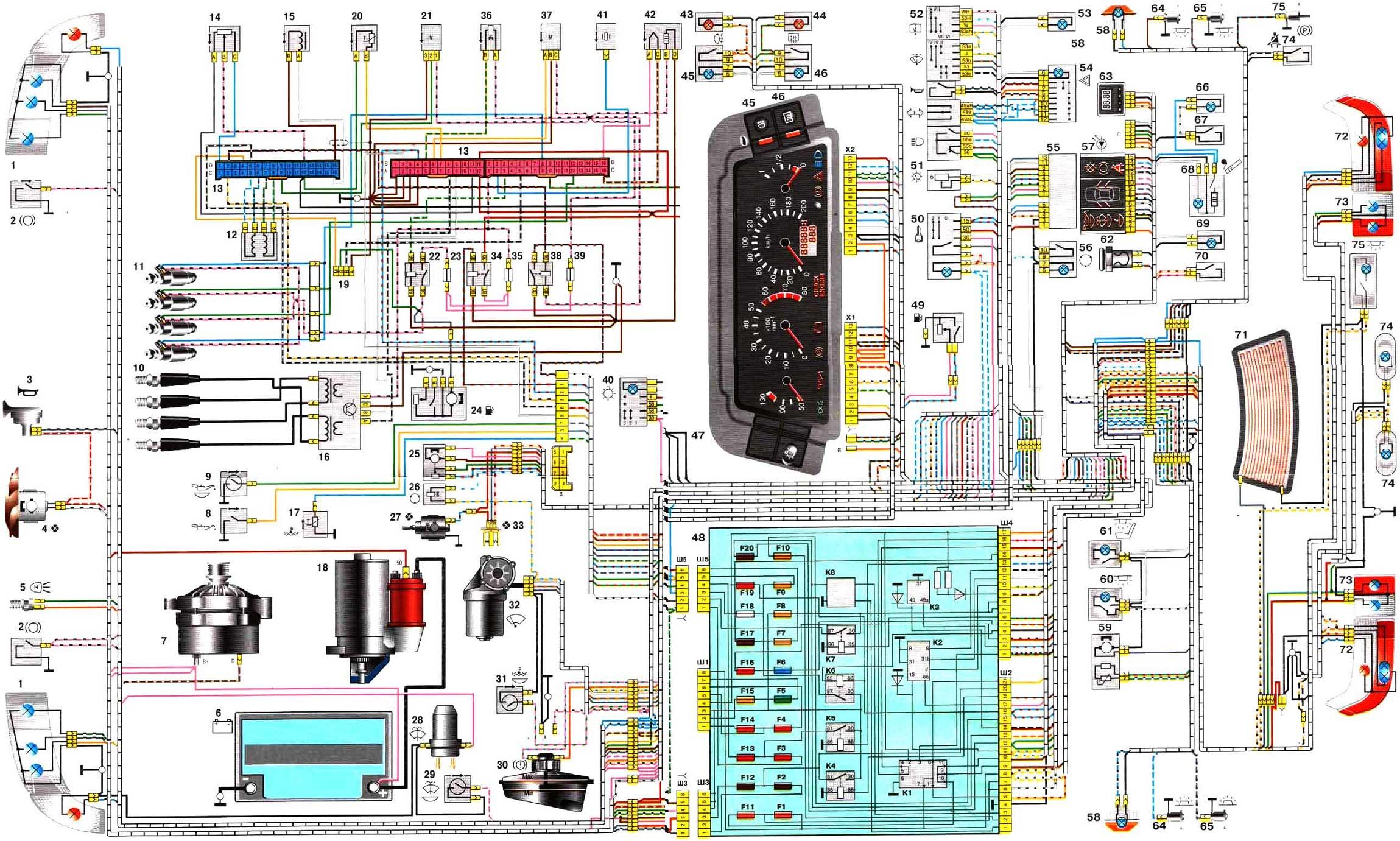 схема проводки инжектора ваз 2109